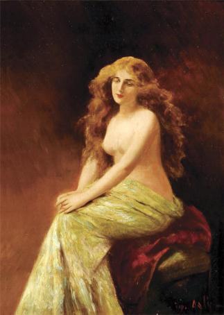 Angelo Asti femme blonde assise
