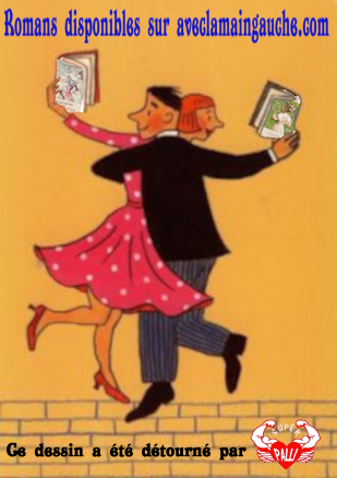 Couple de lecteurs debout légendé crédité