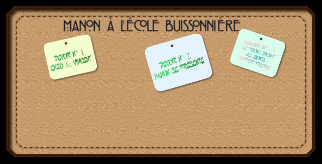 Bannière Manon à l'école buissonnière devoirs 1&2&3